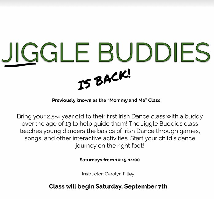 Jiggle Buddies, a class for kids 2.5-4 years old with a parent or buddy 13 or older, will be offered on Saturdays from 10:15-11:00 beginning Sept. 7.
